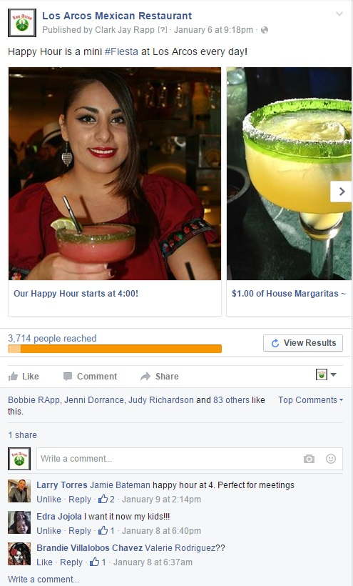 Facebook Advertising for Los Arcos Mexican Restaurants by 1 Click Solutions, LLC