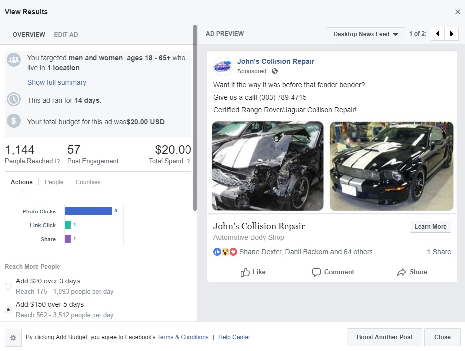 Facebook Advertising for John's Collision Repair by 1 Click Solutions, LLC